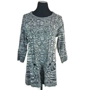 Effeci Cable Knit Pullover Sweater Tunic